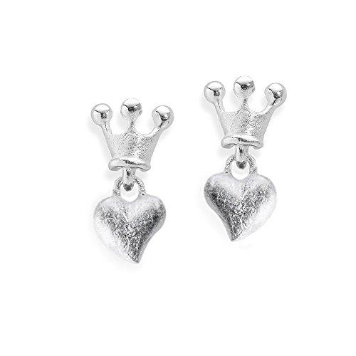 Heartbreaker Luxus Herz Ohrstecker mit Krone aus der Kollektion Crown of my Heart in Echtsilber , Ohrringe Silber 925 Sterling nickelfrei , Elegante Design Herz Ohrringe für Damen