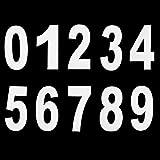 Pangda Números 0 a 9 Pegatina de Número de Basurero con Ruedas Números Adhesivos Grandes, 17,5 cm por 9,5 cm, Blanco, 20 Piezas