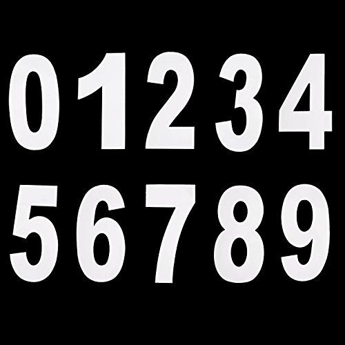 0 bis 9 Anzahl Mülleimer Sticker Zahl Aufkleber Große Zahl Aufkleber, 17,5 cm mal 9,5 cm, Weiß, 20 Stück (Zahlen Großer Aufkleber,)