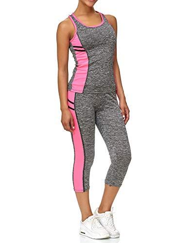 ArizonaShopping - Anzüge & Sets Damen Sport Set Tank Top Capri Leggings Fitness Kombi Zweiteiler D2433, Farben:Pink, Größe Damen:S/M