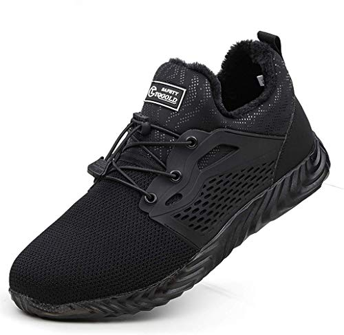 TQGOLD Chaussure de Securité Homme Femmes Chaussures de Travail avec Embout de Protection en Acier Chaussure Doublure Chaude Hiver Taille 35-46(Noir,Taille 46)