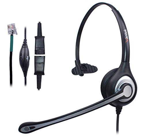 Wantek Wired Telefon Headset Kopfhörer Mono mit Noise Cancelling Mikrofon + Quick...
