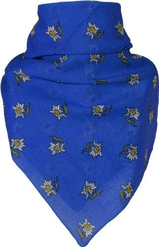 Bandana mit Edelweiss in 15 Farben aus Baumwolle, Farben:royalblau, Größen:Einheitsgröße