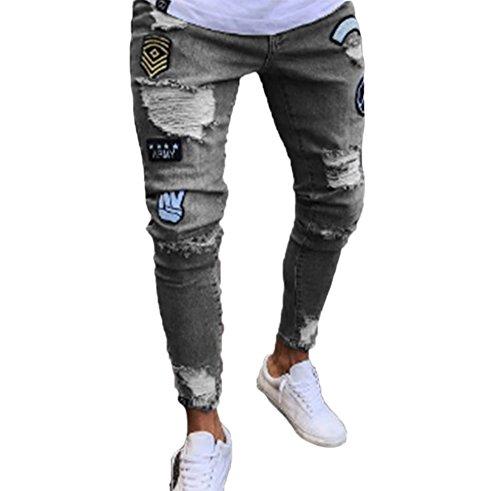 Pantaloni jeans da uomo, jeans da uomo skinny strappati elasticizzati da uomo pantaloni denim denudati slim fit con zip
