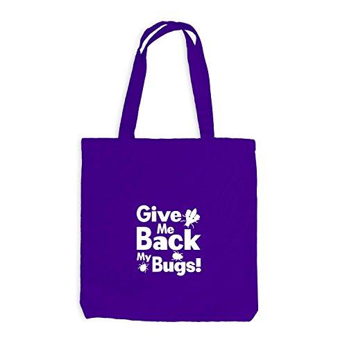 Jutebeutel - Give Me Back my bugs - Fun Style Käfer Violett