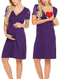 Unibelle Damen Umstandskleid Spitzenkleid Schwangerschafts Kleid  V-Ausschnitt mit Kurzarm 2c2d39bf39