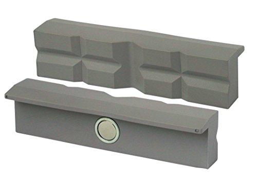 Preisvergleich Produktbild HEUER 108140 Schraubstockbacken / Schutzbacken | rechtwinkelig, planparallel, integrierte Spezialmagnete, passend zu Schraubstock 140 mm | Material: Polyurethan
