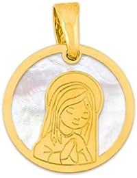 Medalla de Comunión niña en nácar y plata chapada en oro