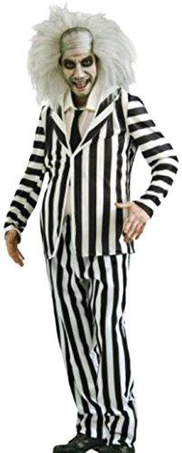 Karnevalsbud - Herren Beetlejuice Geist, Gespenst Kostüm, Halloween, M/L, Schwarz-Weiß