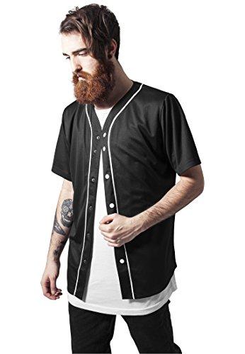 Baseball Mesh Jersey shirts Urban Classics Streetwear Para Hombre, blk/wht, M