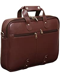 Gleam Synthetic Sleek Faux Leather 15.6-Inch Brown Laptop Briefcase