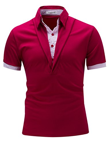 LAINIHK Polo Herren Fake zwei Stücke Kurzarm Beiläufig Poloshirt Rot