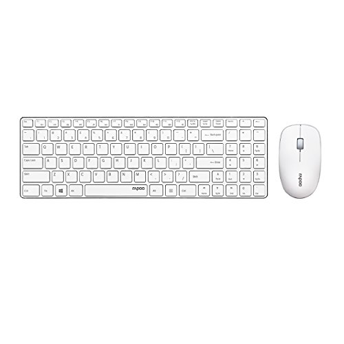 Rapoo X9310 ultraschlanke kabellose Aluminium Tastatur und Maus (2,4 GHz Wireless Combo Set, 4,9 mm dünn, 1000 DPI, Multimedia, Nano-USB, Full-size, für Apple, MAC, iPad, iOS, QWERTZ deutsches Layout) weiß