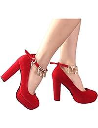 Zapatos de Novia - Zapatos de Boda Rojo Tacones Altos con Encaje Grueso en  los Zapatos 4cd006abe58