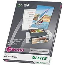 Leitz Heißlaminierfolien, Glänzend, transparent, A4, UDT, Folienstärke 125 mic, 100er Pack, 74810000