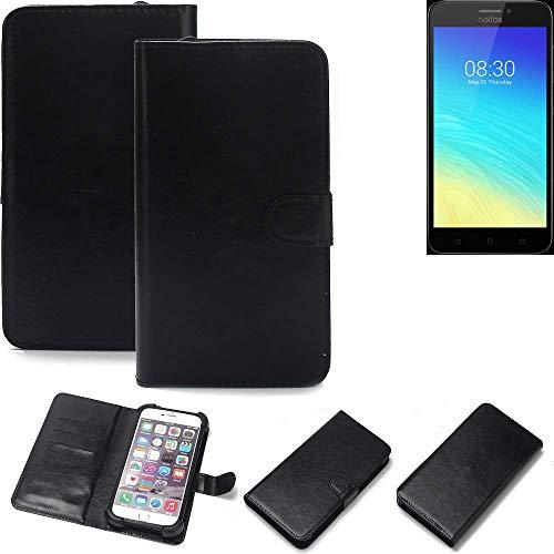 K-S-Trade Wallet Case Handyhülle für TP-LINK Neffos Y5S Schutz Hülle Smartphone Flip Cover Flipstyle Tasche Schutzhülle Flipcover Slim Bumper schwarz, 1x