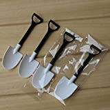Generic 100pcs Disposable potted black and white ice cream scoop shovel small potted flower pot spoon