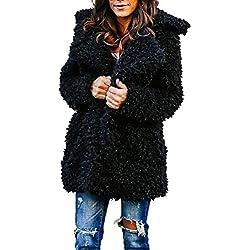 KEERADS Manteau 2018 Mode Femme Hiver Doudoune Longue Duffle Coat Fourrure Revers Jacket, Veste Manches Longues ÉPaissir Doublé Peluche Chaud Parka Rembourrée(L,Noir)