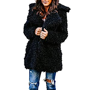 LILICAT Womens Ladies Oversized Coat Long Sleeve Plush Jacket Parka Cardigan Winter Warm Tops Outerwear Overcoat Womens Fuzzy Fleece Open Front Cardigan Coat Outwear