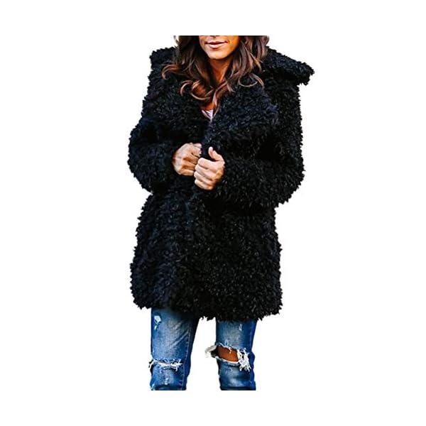 LILICAT Womens Ladies Oversized Coat Long Sleeve Plush Jacket Parka Cardigan Winter Warm Tops Outerwear Overcoat Womens Fuzzy Fleece Open Front Cardigan Coat Outwear