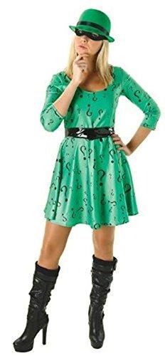 Batman Kostüm Villain - Rubie 's Offizielles Damen The Riddler Batman Villain Kleid, Erwachsene Kostüm-Große
