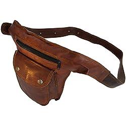 riñonera original de cuero de cabra marrón