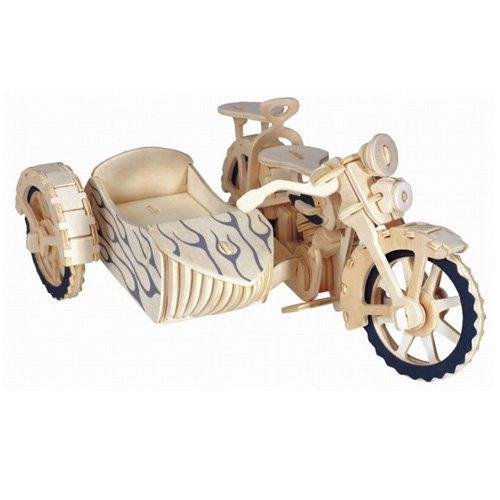 Motorrad mit Beiwagen 3D Holzbausatz Fahrzeug Holz Steckpuzzle Kinder Holzpuzzle P124