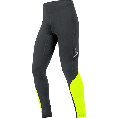 GORE RUNNING WEAR Herren Lange Enganliegende Laufhose, GORE Selected Fabrics, MYTHOS 2.0 Tights long, Größe L, Schwarz/Neon Gelb, TMYTLM (Running Gore Tights)