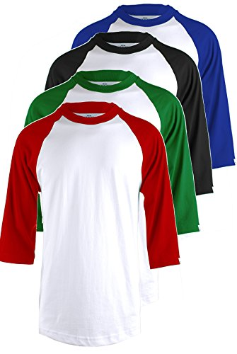 Top Legging TL Herren 's 4Pack 3/4Sleeve Baseball Baumwolle Rundhalsausschnitt Jersey Raglan T-Shirts -