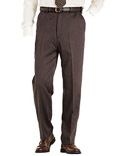 Hommes High Waisted Doublée Pantalon Classique Marron