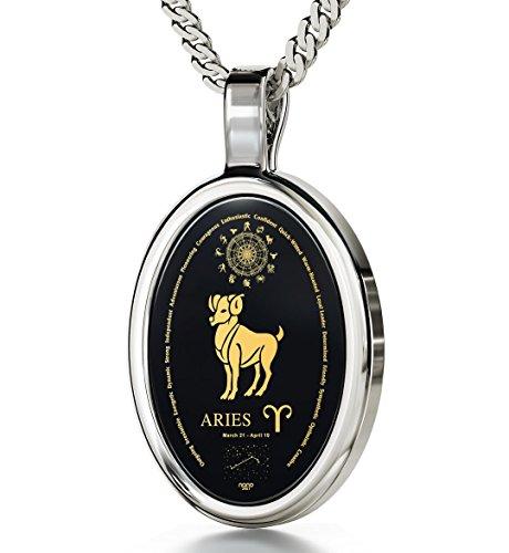 925 Sterling Silber Horoskop Halskette Sternzeichen Widder Graviert mit 24k Gold auf 15x21mm Schwarzem Onyx Anhänger, 45cm Silberkette (Liebe Auf Ersten Datum)