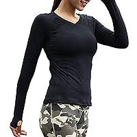 Azornic Womens/Ladies Sports Gym Yoga Tops Quick-Dry Long Sleeve Slim Performance T-Shirt Sweatshirt (L, Black)