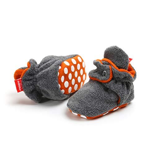 EDOTON Unisex Neugeborenes Schneestiefel Weiche Sohlen Streifen Bootie Kleinkind Stiefel Niedlich Stiefel Socke Einstellbar (0-6 Monate, Orange Grau)