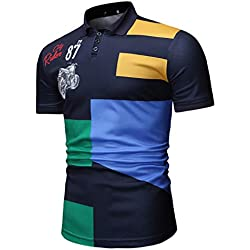 Armanis Revers Polo Shirt pour Hommes,Polo imprimé locomotives Chemises à Manches Courtes de Loisirs de Mode,Darkblue,XL