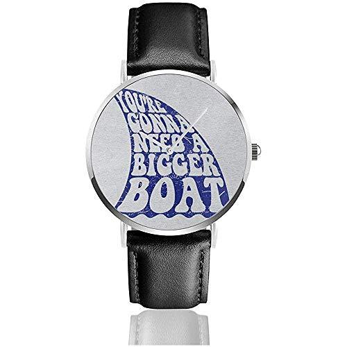 Unisex Business Casual Jaws Inspired Bigger Boat Quote Watches Reloj de Cuero de Cuarzo