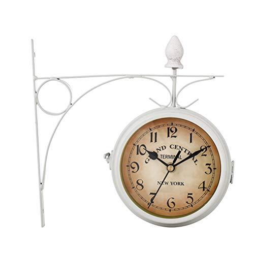 ABBD Vintage zweiseitige stille Halterung Wanduhren Wohnzimmer, Metall ruhig Grand Central Station Wanduhr Art Clock Bauernhaus dekorative doppelseitige Wanduhr White -
