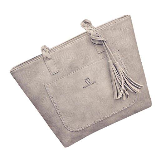Große Hobo Geldbörsen (Damenhandtaschen Ronamick Damen Mode Quaste Handtasche Schultertasche große Tote Damen Geldbörse (Grau))