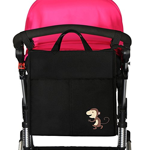 IntiPal Kinderwagen Organizer Tasche Wasserdichte Wickeltasche für Buggy (Schwarz mit Affe)