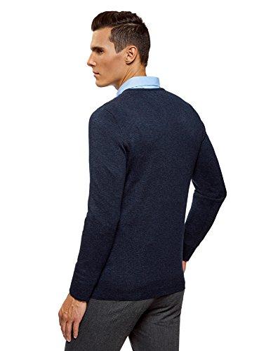 oodji Ultra Herren Pullover Basic mit Rundhalsausschnitt Blau (7901M)