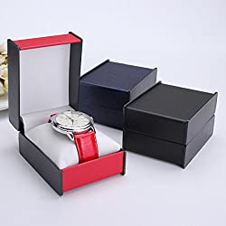 Baban Watch Jewelry Storage Display Box Case Plastic+Leather Blue/Red/Black