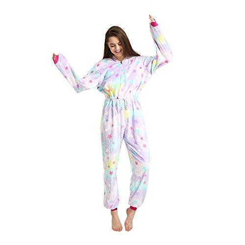 Imagen de adultos con cordón unicornio de una pieza pijamas con capucha trajes anime navidad halloween cosplay disfraces estrellas unicornio, xl
