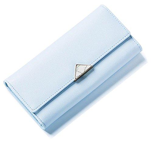 Portafoglio Donna, WEICHEN Blocco RFID Grande capacità Lunga Elegante Borsa delle signore PU genuino Cera di lusso Porta Monete Carte di Credito e Identità-Grigio Blu Brillante