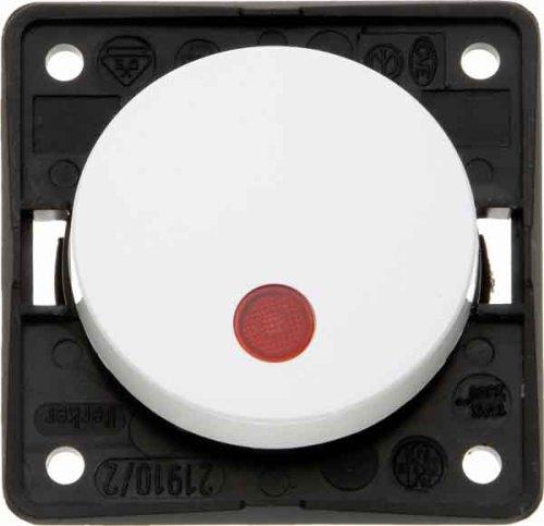 Hager INTEGRO Taster mit Pilot Objektiv Rot + Lampe Neon Weiß Polar -