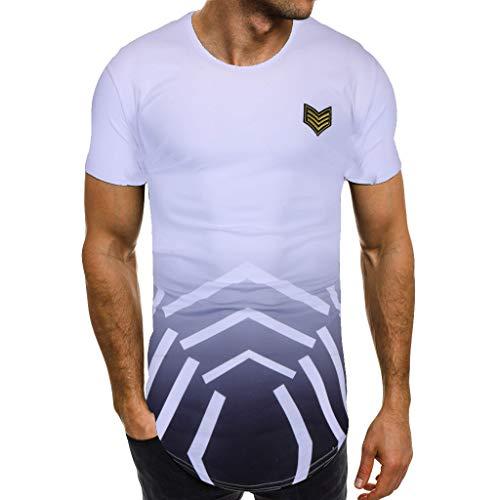 0b1a715e209 Camisetas Hombre YanHoo Manga Corta Deporte Estrellas Estampado Polos  Personalidad Algodón Camiseta de Manga Corta con