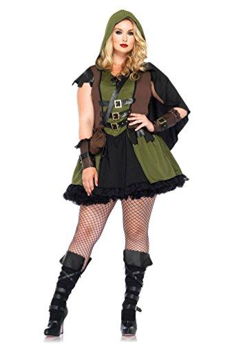 obin Hood Kostüm Damen sexy Plus Size Damen-Kostüm Lady Marian grün-braun-schwarz Größe 46/50 (Räuber Kostüm Frauen)