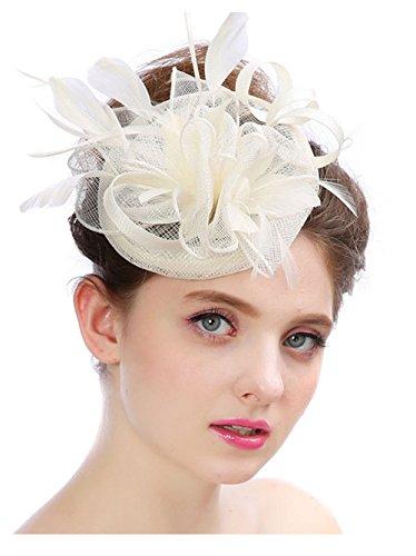 (ZYCC Frauen Fascinator Mesh Hut Haarclip Feder Hochzeit Headwear Braut Stirnband (Milchig Weiß))