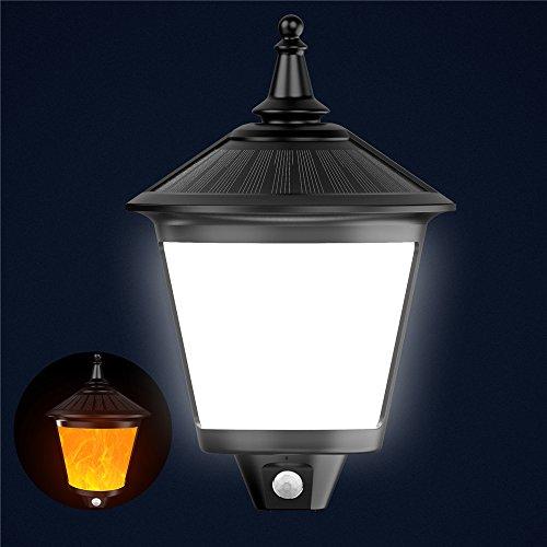 Samoleus Solar Leuchten Außen, Außenleuchte Solar Wandleuchte, IP65 Wasserdicht Weiß Licht Flamme Lampe 2 Modi, Weitwinkel LED Bewegungs Sensor Solarlampen für Garten, Weihnachtsdekoration (1 Pack)