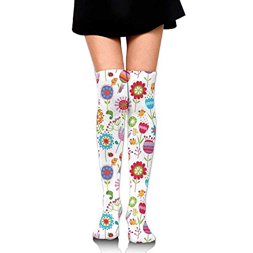 OQUYCZ Womens Floral Arrangement with Many Wildflowers Birds and Bugs Happy Nature Inspired Image Concision High Boot Socks