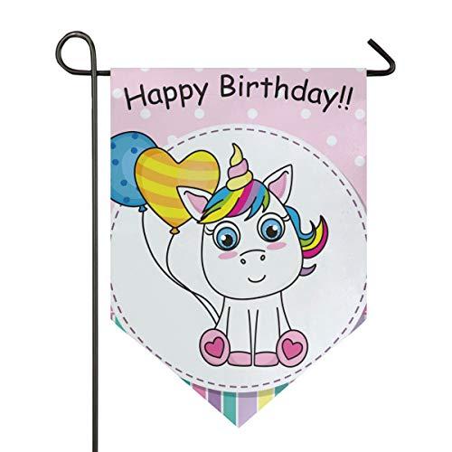 SENNSEE Hausflagge Happy Birthday niedliches Einhorn rosa Gartenflagge 30,5 x 45,7 cm doppelseitig dekorative Hofflagge für Zuhause Dekoration im Freien, Polyester, Multi, 12x18.5 (Im Birthday Flagge Freien Happy)