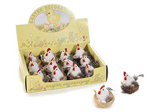 Ideapiu espositore 12 gallinelle nel nido con uova